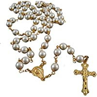 Pray Beads Jesus Cross Necklace 8mm Synthetic Pearl Beads Gold Rosary Catholicism