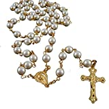 Pray Bead Jesus Cross Necklace 8mm Pearl Beads Gold Rosary