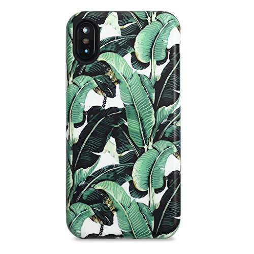 iPhone X Case for Girls/iPhone Xs Case, GOLINK Floral Series Slim-Fit Ultra-Thin Anti-Scratch Shock Proof Dust Proof Anti-Finger Print TPU Gel Case for iPhone X/iPhone Xs - Banana Leaf