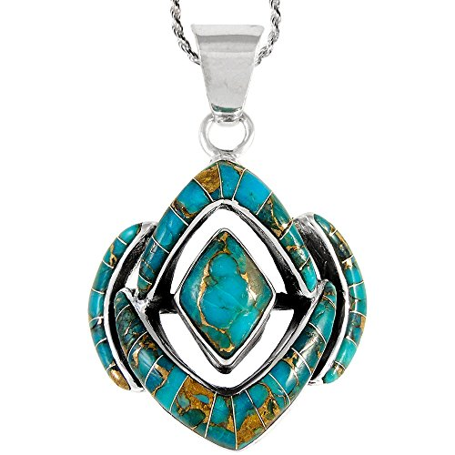 Genuine Precious Stone (Turquoise Necklace 925 Sterling Silver & Genuine Turquoise and Semiprecious Gemstones Pendant 20