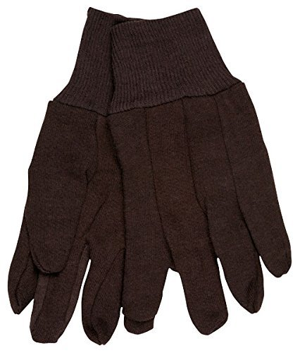 (12 Pair) Memphis 7100P Brown Jersey Work Gloves All Cotton, Size -