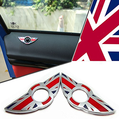 iJDMTOY (2) Red Union Jack UK Flag Style Wing Emblem Rings For 2nd Gen MINI Cooper R55 R56 R57 R58 R59 Door Lock Knobs (Does not fit R60 R61 nor F55 F56 (Cooper Union Jack)