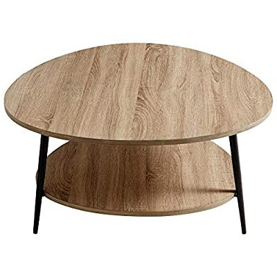 Cyan Design Moon Shot Coffee Tables - Color: brown-bronze-rustic and made of: wooden Finish: oak veneer and black Size: 18.25'' high by 35.25'' wide by 35.5'' long - living-room-furniture, living-room, coffee-tables - 51jYcZPComL. SS400  -