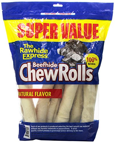 The Rawhide Express Natural Value Pack Rolls Dog Chew, 9 By 10-Inch, 12-Pack