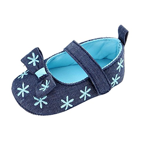 Ouneed® Krabbelschuhe , 0-18 Monate Baby Kleinkind Kinder Mädchen weichen Sohle Kleinkind Neugeborenes Schuhe Blau
