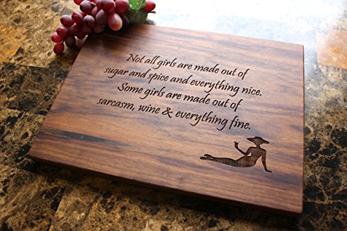 Straga Products Walnut 12x9 Cheese Board or Serving Plate Unique Birthday Gift For Her - Cool Funny Present Idea For Women, Wife, Girlfriend, Daughter, Sister, Friend.