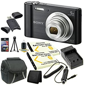 Sony Cyber-Shot DSC-W800 20 MP Digital Camera (Black) + Two NP-BN1 Replacement Lithium Ion Battery + External Rapid Charger + Small Case + SDHC Card USB Reader + Memory Card Wallet + Deluxe Starter Kit DavisMax Bundle