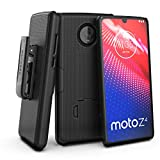 Encased Moto Z4 Belt Clip Case (DuraClip) Slim Fit Holster Shell Combo (Rubberized Grip) Smooth Black