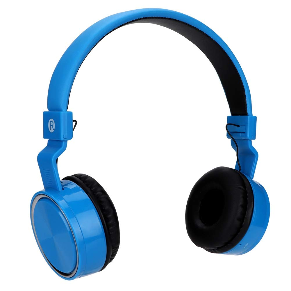 fosa Portable Bluetooth Over-Ear Headphone Wireless FM On-Ear Earphone Audio Music Display Headset for Children Adults, Support MP3, Caller Hands-Free(Blue)