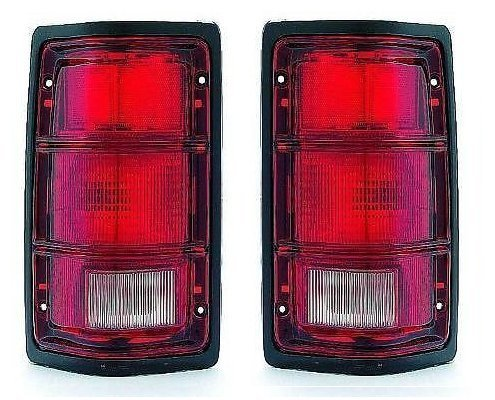 91 Dodge Pickup Truck (81-93 Dodge Ram Truck 1500 2500 3500 Taillight with black trim Pair Set 81-93 Dodge Ramcharger Driver and)