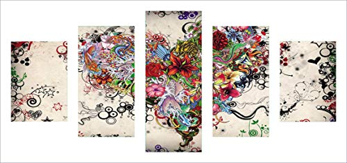 Kingshalor DIY 5D Diamond Painting by Number Kit, Full Drill Rhinestone Embroidery Cross Stitch Picture for Wall Decoration, 5 Sets of Splicing Painting (Flower-Love)