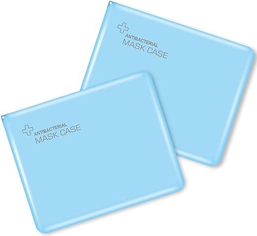 Portable Mask Box 2pcs Blue, 4.1 Reusable Mask Storage Box
