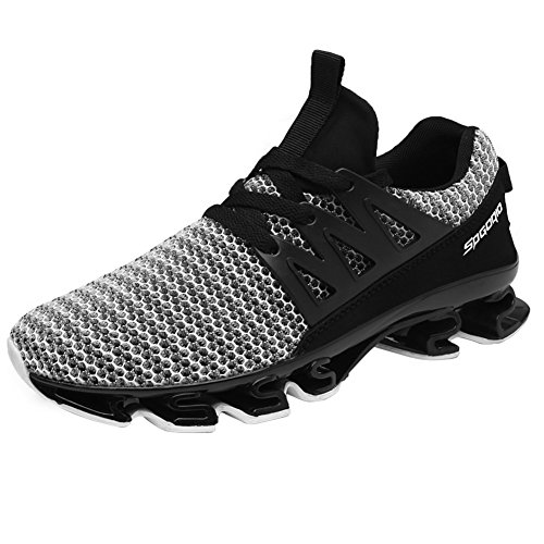 HONGANG Running Shoes, Men's Sports Blade Shoes with Breathable Mesh Light Weight for Outdoors Running Hiking with Strong Friction. Grey