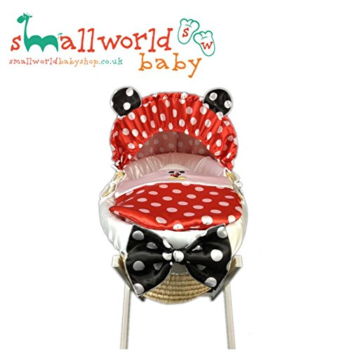 Personalised Red Polka Dot Mickey Mouse Moses Basket Cover Small World Baby Shop