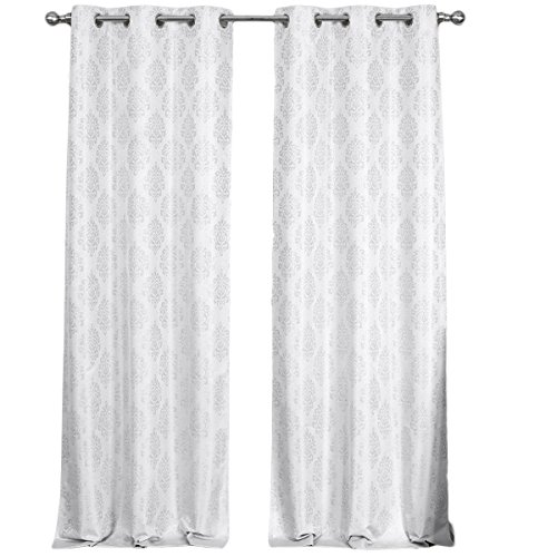 Cheap sheetsnthings A Set of 2 Room Darkening Panels, Off-White Paisley Blackout Jacquard Thermal Insulated Grommet Top Curtain Panels, 76″Wx63″L