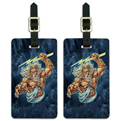 Zeus Greek God Mythology Lightning Luggage ID Tags Carry-On Cards - Set of 2 ()