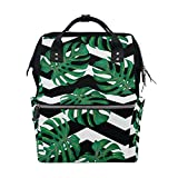 ALIREA Tropical Pattern With Monstera Leaves Diaper Bag Backpack, Large Capacity Muti-Function Travel Backpack