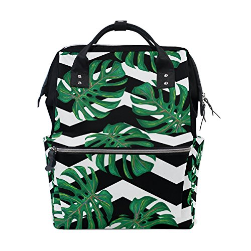 ALIREA Tropical Pattern With Monstera Leaves Diaper Bag Backpack, Large Capacity Muti-Function Travel Backpack by ALIREA
