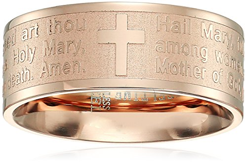 Steeltime 18k Rose Gold Plated Hail Mary Prayer Ring, Size 7