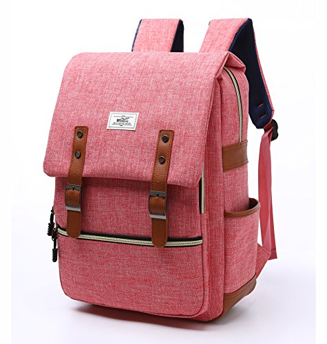 Vintage Laptop Backpack, Kacat 15.6 Inch Canvas Backpack with Laptop Sleeve for School Travel Hiking (pink)