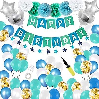 Cumpleaños decoración Fiesta maridaset 68 Pieza niño Azul Feliz cumpleaños guirnaldas Globos Estrella Diapositiva Globos con Bomba Fiesta Deco Set ...