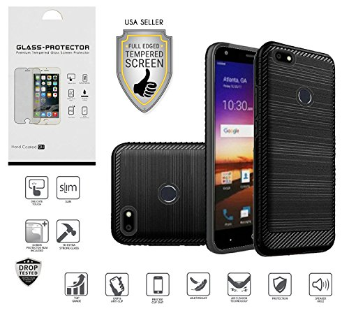 ZTE Blade X Case (Cricket), Z965 Case, with Full Edged Tempered Glass Screen Protector, Metallic Brushed Design Slim Hybrid [Shockproof] Dual Layer Case Cover (Black)