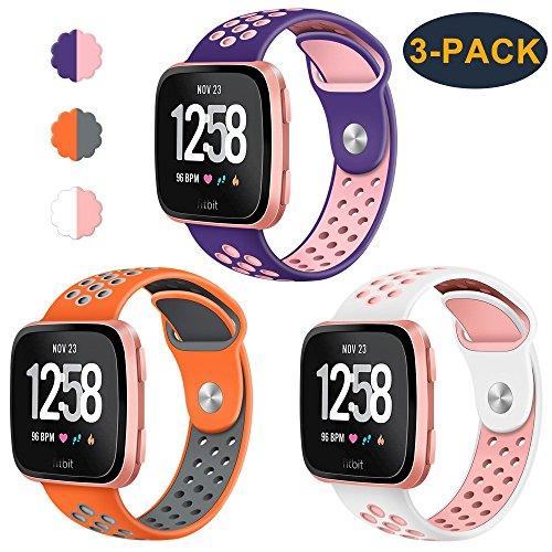 "CAVN CAVN 3-Pack Compatible Fitbit Versa Bands for Men Women, Sweat Resistant Replacement Accessory Strap Bracelet Compatible Fitbit Versa Smartwtach (S/5.5""-6.8"", Purple/Peach+Orange/Grey+White/Peach) price tips cheap"