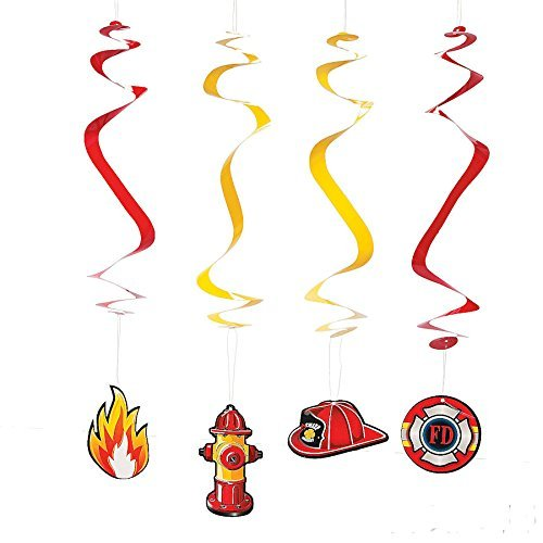1 Tablecover, 12 Firefighter Hanging Swirls /& 12 Balloons by FX Fireman Hero Party Decorations Kit Bundle