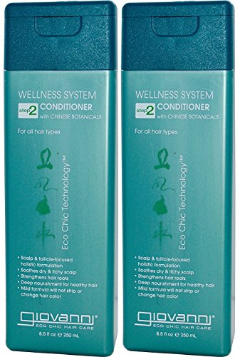 Giovanni All Natural Organic Wellness Conditioner With Chinese Botanicals For Soothing Dry and Itchy Scalp, 8.5 fl. oz each (Pack of 2) (Giovanni Wellness System Conditioner With Chinese Botanicals)