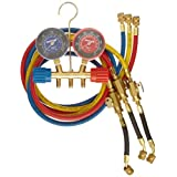 """Robinair 41670 Two Way Brass Manifold with 60"""" RYB Hoses, For R410 Refrigerant"""