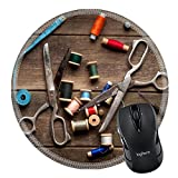 MSD Natural Rubber Mousepad Round Mouse Pad/Mat: 31404577 Vintage Background with sewing tools and colored tape Sewing kit Scissors bobbins with thread and needles on the old wooden background