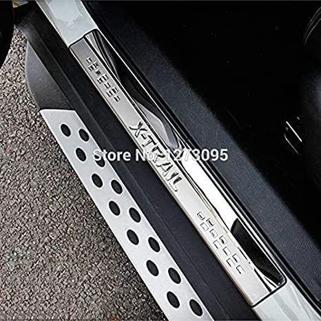 Non-slip mat 15pc Car door sill Styling For X-Trail XTrail T32 door sill Decorative Strips Stainless Steel Kick Plates protector Accessories