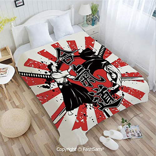 PUTIEN 3D Print Flannel Blanket Crossed Samurai Swords Hieroglyph Background Two Ronin Aikido Eastern Fight Style for Fun Playroom Decorations(39Wx49L)