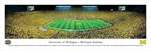 Michigan Football - Under The Lights - 50 Yard - Blakeway Panoramas Unframed College Sports Posters