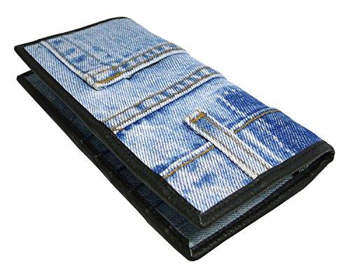 Bijoux De Ja Women Blue Denim Money Bi-fold Wallet Wristlet Purse Clutch (Bijoux Clutch)