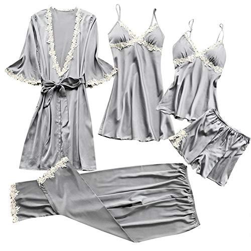 - Women Lace Pajamas Sets Satin Women Sexy Underwear Robe Sleepwear Kit Sleeveless Nightwear Pijama Mujer(XXXL,Gray)