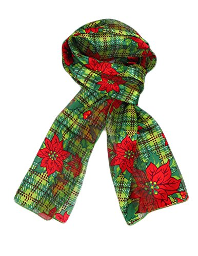 laid Christmas Poinsettia Mistletoe Scarf - Green - One Size ()