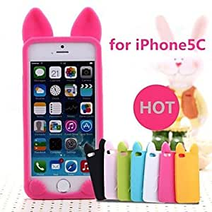 JOE New 3D Cat Ears Silicone Soft Case for iPhone 5C (Assorted Colors) , Red