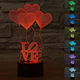 3D Illusion 4 Love Heart Balloons Night Light,7 Colors Gradual Changing Touch Switch USB Table Lamp for Kids Gift or Home Decorations