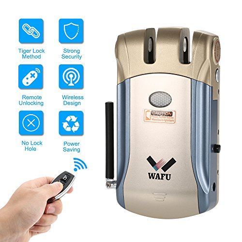 WAFU Wireless Security Invisible Keyless Entry Door Lock Home Smart Remote Control Lock with 4 Remote Keys (Security+ Entry Wireless Keyless)