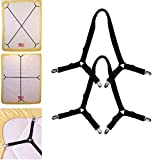 #2: Bed Sheet Fasteners, Adjustable Triangle Elastic Suspenders Gripper Holder Straps Clip for Bed Sheets,Mattress Covers, Sofa Cushion