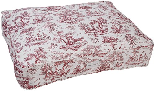 Harry Barker Toile Rectangle Bed - Red - Medium
