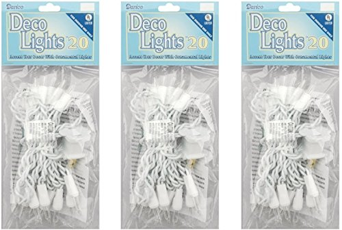 Darice LT20-1 Clear 20-Bulb Light Set with White Cord for Indoor Use Only (3 Pack) (10 Christmas Lights Bulb String)