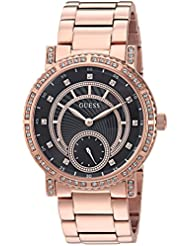 GUESS Womens Stainless Steel Crystal Casual Watch, Color: Rose Gold-Tone (Model: U1006L2)