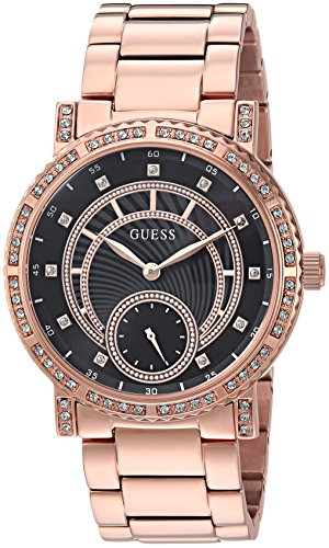 GUESS Women's Stainless Steel Crystal Casual Watch, Color: Rose Gold-Tone (Model: U1006L2)
