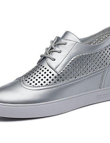 NJX/ hug Zapatos de mujer - Tacón Cuña - Cuñas - Planos - Oficina y Trabajo / Vestido / Casual / Deporte / Fiesta y Noche - Cuero Patentado - , silver-us8 / eu39 / uk6 / cn39 , silver-us8 / eu39 / uk6 / cn39 silver-us8 / eu39 / uk6 /