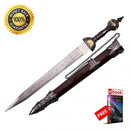 20'' Roman Gladius Legion Short Sword Maximus Gladiator Dagger w/ Ornate Handle PRIME sharp strong blade eBOOK by MOON (Scottish Claymore Dagger)