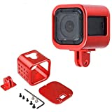 CNC Aluminum Alloy Housing Sport Camera Shell Box Frame Mount Prevent Overheating Case for GoPro Hero 5 Session/ Hero 4 Session (Red)