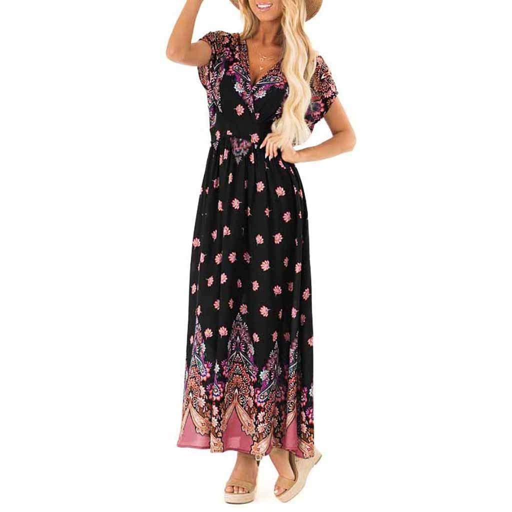 Rexinte Women Summer V Neck Dress Print Beach Long Dresses Bohemian Party Shirred Dresses(Black,S