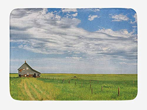Kaickdfv Rustic Bath Mat, Canadian Timber House in Terrain Grassland Farmland with Clouds in Air Landscape, Plush Bathroom Decor Mat with Non Slip Backing, 23.6 W X 15.7 W Inches, Green Blue ()